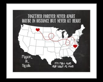 Unique Chalkboard Design Long Distance Relationship Personalized Love Map Gift Quote Hearts Miles Names Goodbye Custom Going Away Gift