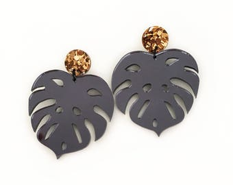 Large Monstera deliciosa leaf statement dangle earrings - Black Mirror