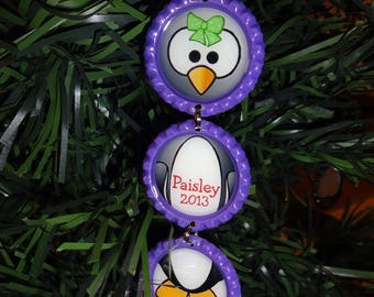 PERSONALIZED Penguin Purple Bottle Cap Christmas Ornament * ANY NAME