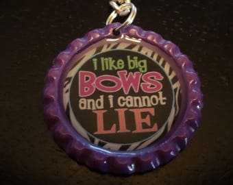 I Like Big Bows and I cannot Lie! CHEER Purple BOTTLE Cap jewelry KEYCHAIN * New
