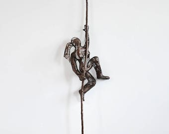 Miniature Metal sculpture, Climbing woman on rope, home decor, Abstract sculpture, Contemporary wall art
