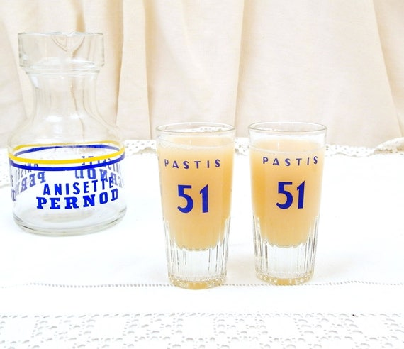 2 Vintage French Small Pastis 51 Mominettes Glasses, Pair French Aperitif Glasses, Pernod Ricard Cote D'Azur South of France, Barware
