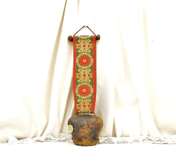 Vintage Decorative Metal Cow Bell From the Alps with Woven Folk Pattern Fabric Braid, Original Alpenshelle Swiss Mountain Cowbell