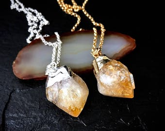 Natural Citrine Point Necklace / November Birthstone Jewelry / Raw Rough Citrine Necklace / Natural Jewelry Gifts for Wife, Mom, Daughter