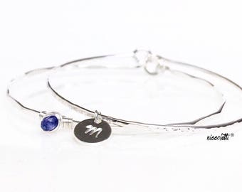 Genuine Tanzanite Bangle Bracelet / December Birthstone Gift for Her / Violet Gemstone Bracelet / New Mother Push Gift / Something Blue