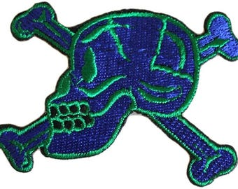 2 Iron On Driving BADGES PATCHES: Motor Racing No 1 and Motorbike Skull and Crossbones - Heavy Metal Style!