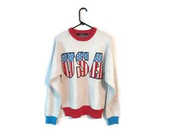 Mens Vintage USA AMERICA Crew Neck Sweater Size Large Mens