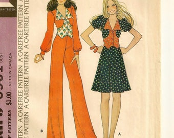 "A Shaped, Front Button, Waist Length Top, Flared Skirt & Wide Straight Leg Pants Pattern for Women: Uncut - Size 14 Bust 36"" • McCall's 3951"