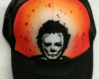 Airbrush custom snapback hat color black