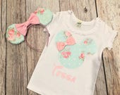 MINNIE MOUSE Inspired Silhouette T-Shirt Tee Tank Onesie Shabby Chic Floral & Matching Minnie Ears SET