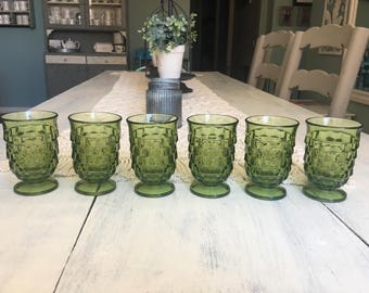 American Fostoria Small Glasses Set of 6. Avocado Green Vintage Pressed Glass. Depression Glass With Pedestal Bases. Fostoria Tumblers.