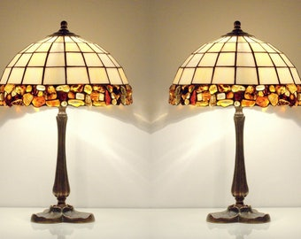 Pair Table Lamps   Bedside Lamps. Table Lamps. Stained Glass Lamps. Tiffany  Lamps