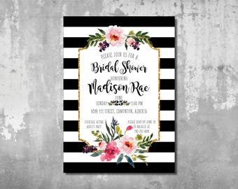 Kate Spade Wedding Invitations Bridal Shower Black Stripes Floral  Calligraphy