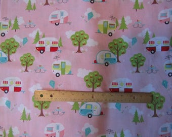 Pink Riley Blake Glamper-Licious Campers/Camping Toss Cotton Fabric by the Half Yard