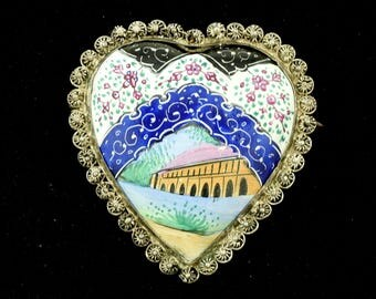 Unusual Porcelain Heart Shaped Brooch Filigree Flowers ~ Lot 1554