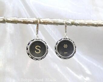 Letter S and Asterisk Symbol Earrings Vintage Typewriter Keys with Sterling Silver Leverbacks