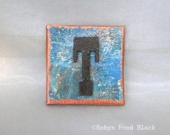 Rustic Letter T and Painted Verdigris Magnet 2 X 2