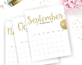 2018 and 2018 monthly calendar printable