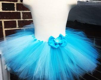 Blue full Tutu Skirt with Bow