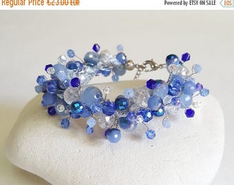 ON SALE Unique Blue Wire Crochet  Bracelet,Blue Crystals Bracelet,Wedding Jewelry,Royal blue Jewelry handmade by CyShell