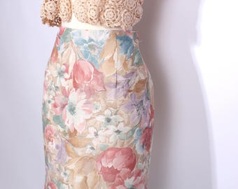 Floral Pencil Skirt Vintage Skirt Soft Pastel Floral High-Waisted Straight Skirt Summer Spring Fashion