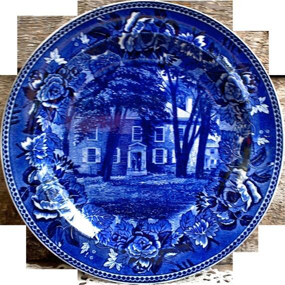 "Antique Blue WEDGWOOD Fort Johnson, Amsterdam, N.Y. Historical Plate 9 1/4"" - Blue Transferware Dinner Plate - English Transferware"