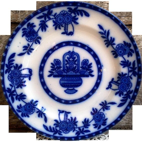 Antique Flow Blue ~ Madras Upper Hanley Plate