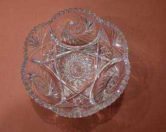 "American Brilliant Cut Glass Bowl - 10"" diameter"