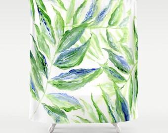 Blue Palm Leaf Shower Curtain, leaf shower curtain, palm leaf shower, botanical curtain, palm leaf curtain, tropical leaf curtain
