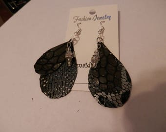 Genuine Leather Earrings -  Black/Gray Snake Print Teardrop Double with Bead Dangle