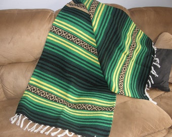 Hot Rod or Den Throw #C - Made from Mexican Blanket Fabric - Heavy rugged Den, Hot rods, parties, beach, wall hanging - Yellow Green Black