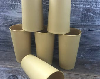 Vintage Set of 6 Harvest Gold Tupperware Tumblers, 10 ounces Travel Trailer-RV-Camping