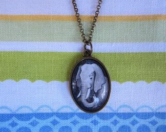 Tiny original elephant necklace Hand painted original art