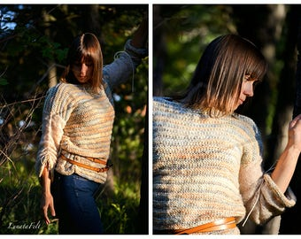 Feather grasse - comfy hand knitted wool sweater from Alpaca/silk and fine merino yarn - OOAK, boho/ethno - ready to ship!