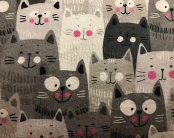 FLANNEL - Cat Fabric - Gray Cat Fabric -White Cat Fabric - Cat Flannel - Happy Cat Fabric - Happy Kitten Fabric - Kitten Flannel