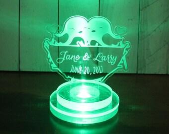 Wedding Cake Topper /Lighted/Love Birds/Personalized/Custom Cake Topper/LED Light/U Choose Color