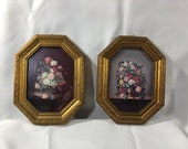 Vintage Wood Framed Italian Prints Flowers Floral Made in Italy Gold Frames Velvet Backing