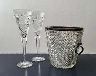 vintage champagne chiller ice bucket diamond point glass silver