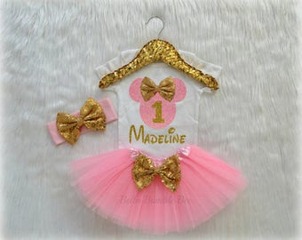 Baby Girl Disney Minnie Mouse, Pink and Gold with Custom Name, First Birthday Tutu Headband Set, Short and Long Sleeve Bodysuit Tshirt 256