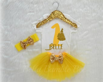 Baby Girl First Birthday Bodysuit, Disney Beauty and the beast Inspired Theme, One Yellow Glitter, Gold Headband Tutu outfit gold bow 337
