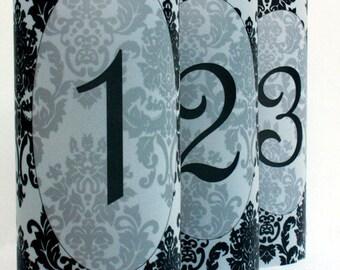 Damask Luminary Table Numbers set of 20, Wedding Table Numbers, Damask Wedding