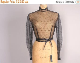 40% SALE Edwardian Blouse // Sheer Black Antique Blouse // Black Netted Top // Goth 1900s Clothing  (small - medium)