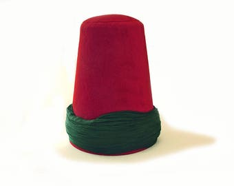 Whirling Dervish green turban Hat, sufi hat ''Sikke''  58~59 cm cherry red