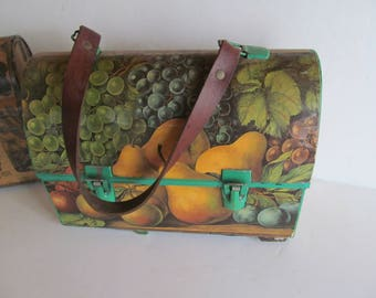 Dome Top Lunch Box Lunch box Metal Lunch Pail  Fruit Decor Vintage Purse Vintage metal lunch boxes Vintage Metal Lunch Box Thermos Alladin
