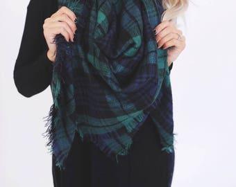 Plaid Blanket Scarf- Green