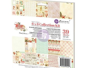 ON SALE Prima Scrapbook Paper Pad - 6x6 - Sweet Peppermint