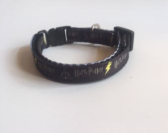 Cat Collar Inspired by Harry Potter , adjustable cat collar, break away buckle cat collar, one size
