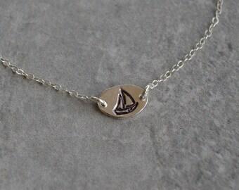 sailboat sterling silver anklet handmade