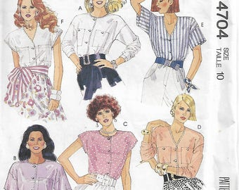McCall's 4704 Size 10 Bust 32 1/2 Misses' Blouses Sewing Pattern 1990 Uncut
