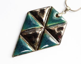 geometric pendant necklace, ceramic, triangles jewelry, blue and gold, triangular pattern, big pendan, unique desing, gift idea for her